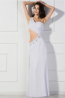 Sheath/Column One-Shoulder Floor Length Chiffon Prom Dresses with Beads