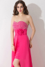 Sheath/Column Sweetheart Sweep Train Chiffon Prom Dresses With Beads