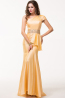 Sheath/Column One-Shoulder Floor Length Taffeta Evening Dress with Beaded