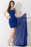 Sheath/Column One-Shoulder Mini Length Chiffon Sweet 16 with Beads