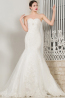 Sheath/Column Strapless Floor Length Organza Wedding Dress with Appliques