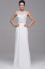 A-Line/Princess Jewel Neck Floor Length Chiffon Prom Dress with Beads