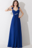 A-Line/Princess Spaghetti Floor Length Chiffon Bridesmaid Dresses With Beads
