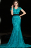 Sheath/Column Jewel Neck Floor Length Lace Evening Dress with Sash