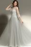 A-Line Jewel Neck Floor Length Tulle Prom Dresses with Applique