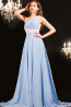 A-Line/Princess One-Shoulder Floor Length Chiffon Prom Dress with Flowers