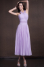 A-Line/Princess Halter Tea Length Chiffon Prom Dresses with Pleats