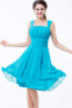 A-Line/Princess Square Neckline Knee Length Chiffon Bridesmaid Dress with Pleats