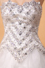 Ball Gown Strapless Court Train Organza Wedding Dresses  with Beads