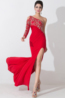 Sheath/Column One-Shoulder Floor Length Jersey Evening Dress with Front Slit