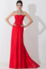 A-Line/Princess Halter Sweep Train Chiffon Evening Dresses With Pleats