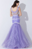 Trumpet/Mermaid V-Neck Floor Length Tulle Evening Dresses With Applique