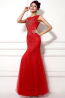 Sheath/Column Jewel Neck Floor Length Tulle Evening Dress with Beadings