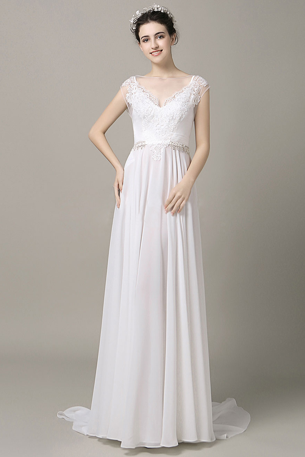 A-Line/Princess Chiffon Sweep Train Maid of Honor Gowns