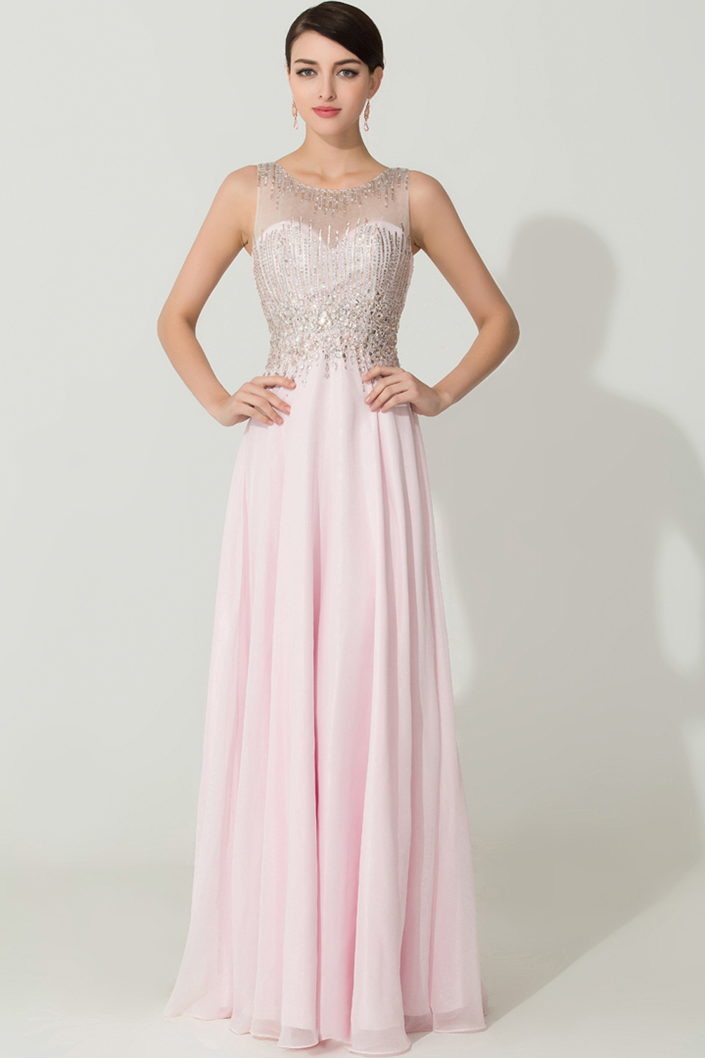 A-Line/Princess Scoop Neckline Floor Length Chiffon Prom Dress with Beadings