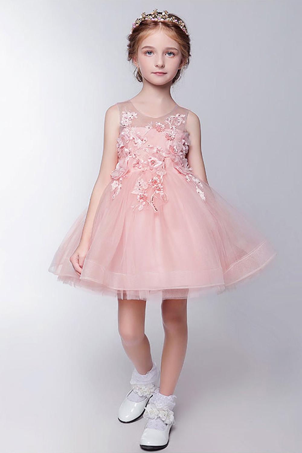 A-Line/Princess Organza Knee Length Flower Girl Princess