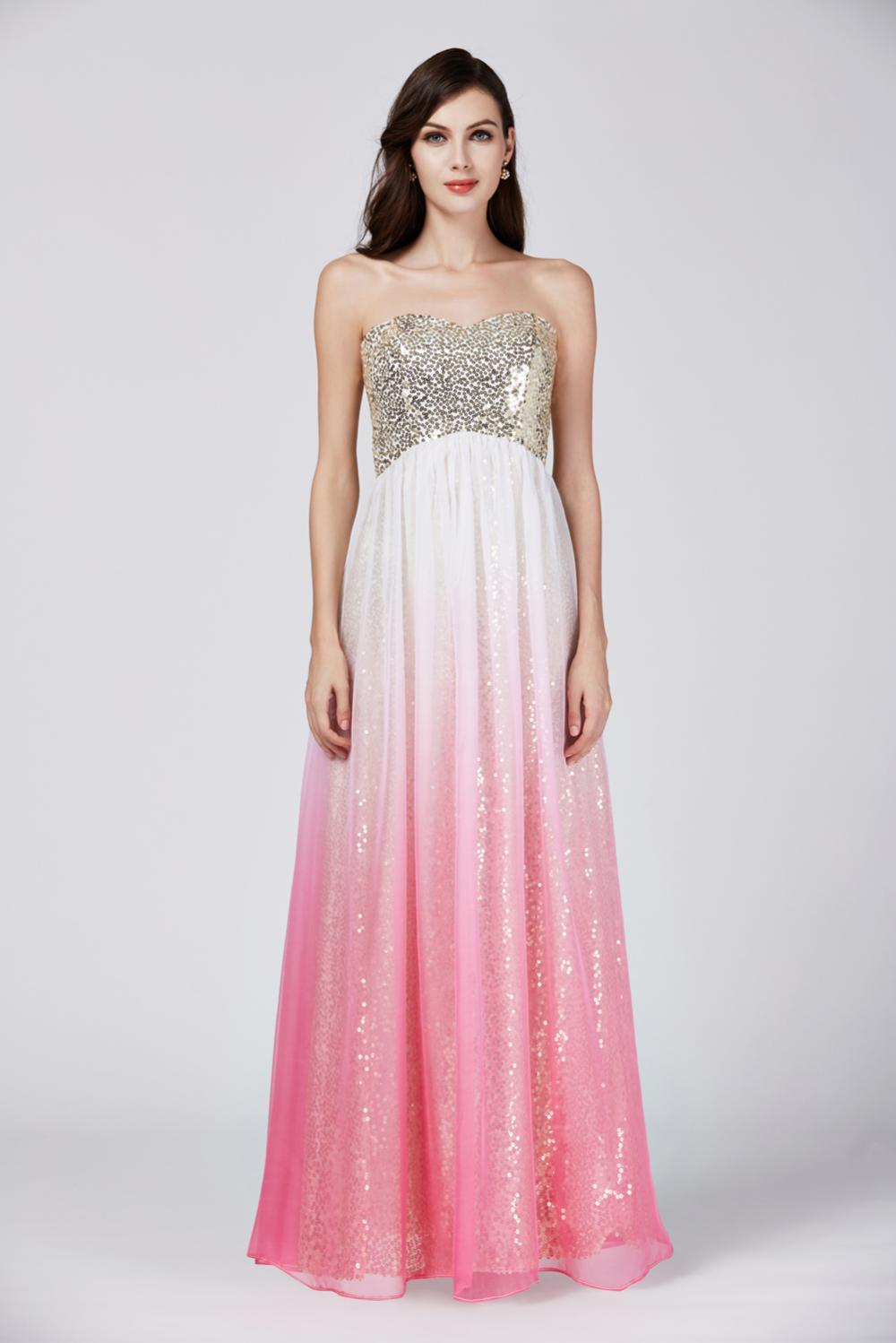 A-Line/Princess Strapless Floor Length Chiffon Prom Dress with Sequins