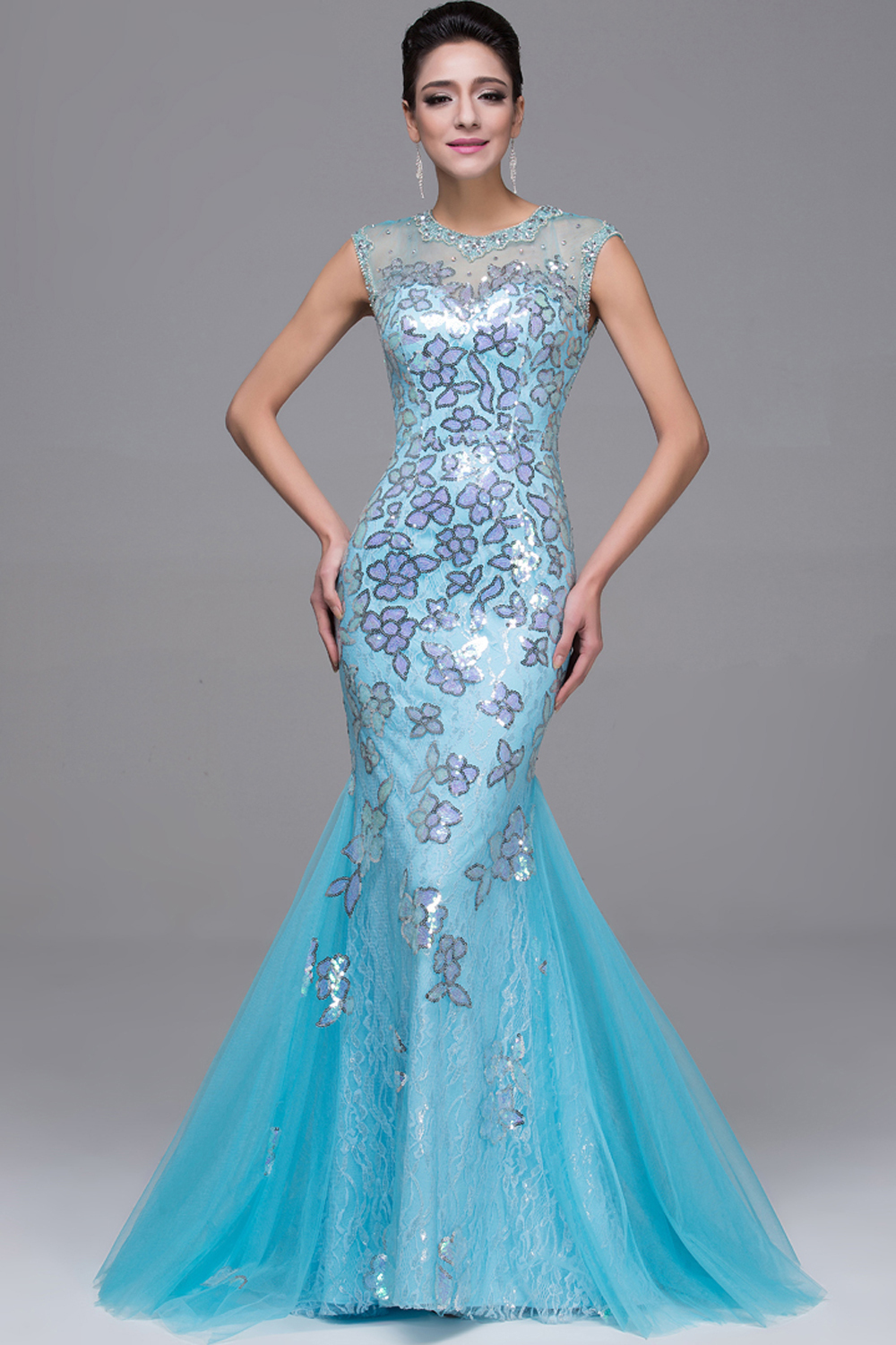 Sheath/Column Jewel Neck Floor Length Tulle Evening Dress with Sequins
