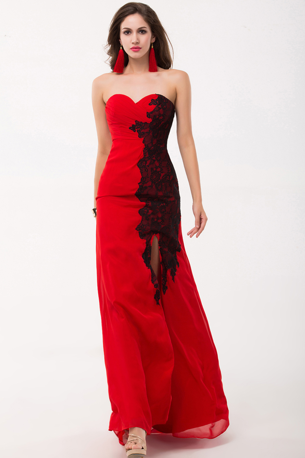 Sheath/Column Strapless Floor-Length Chiffon Evening Dress with Appliques