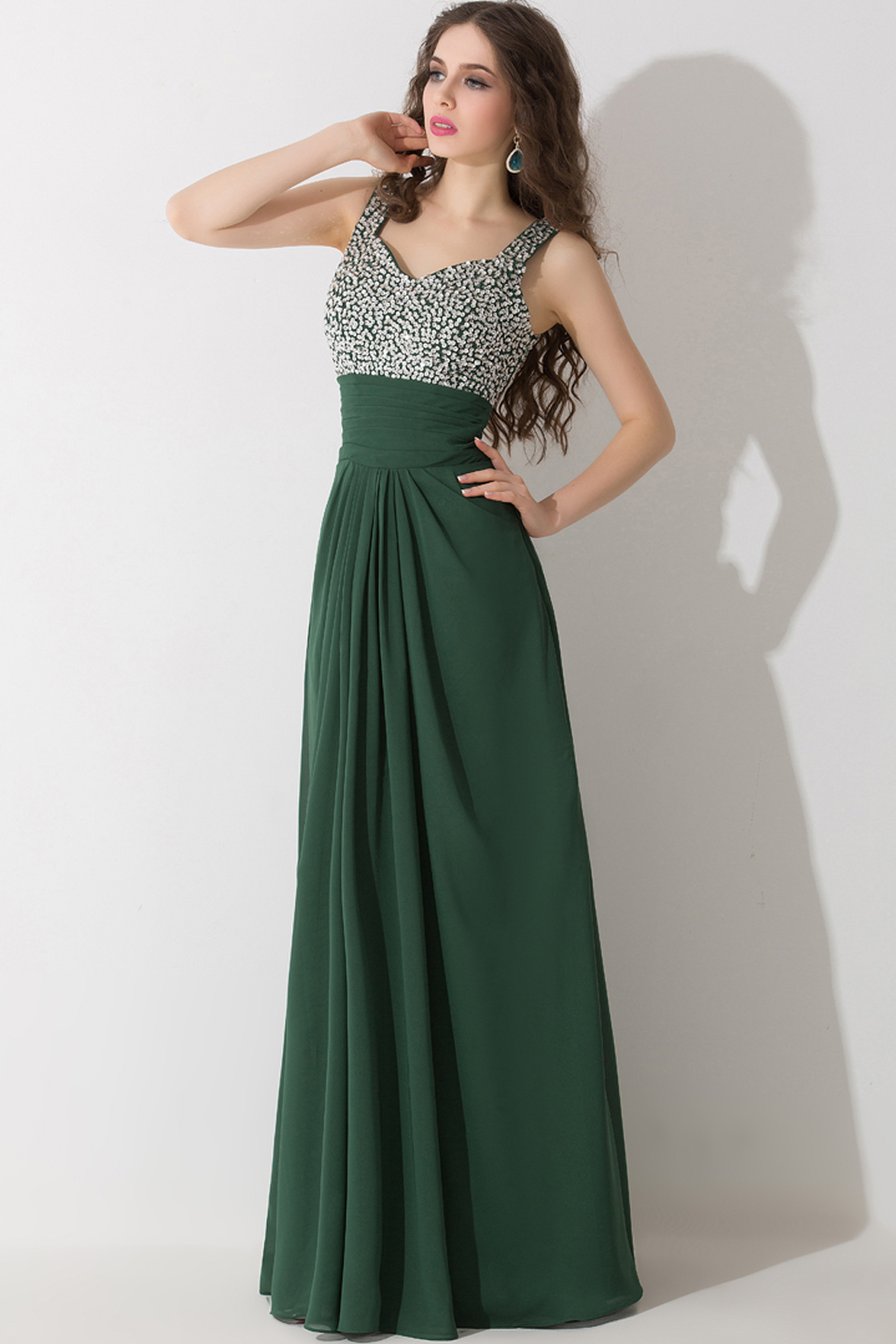 A-Line/Princess Spaghetti Floor Length Chiffon Prom Dresses With Beads