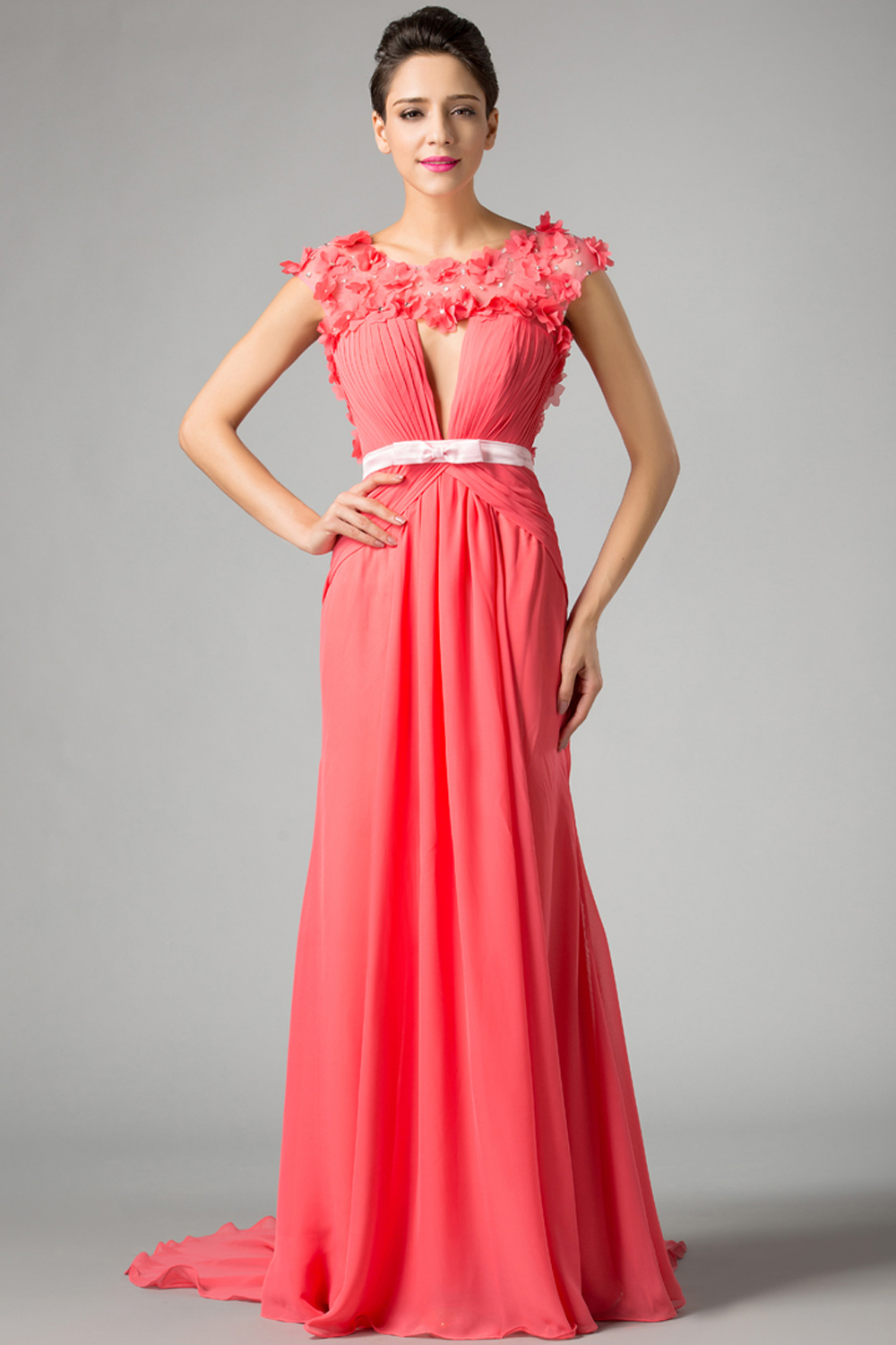 A-Line/Princess Jewel Neck Floor Length Chiffon Prom Dress with Flowers