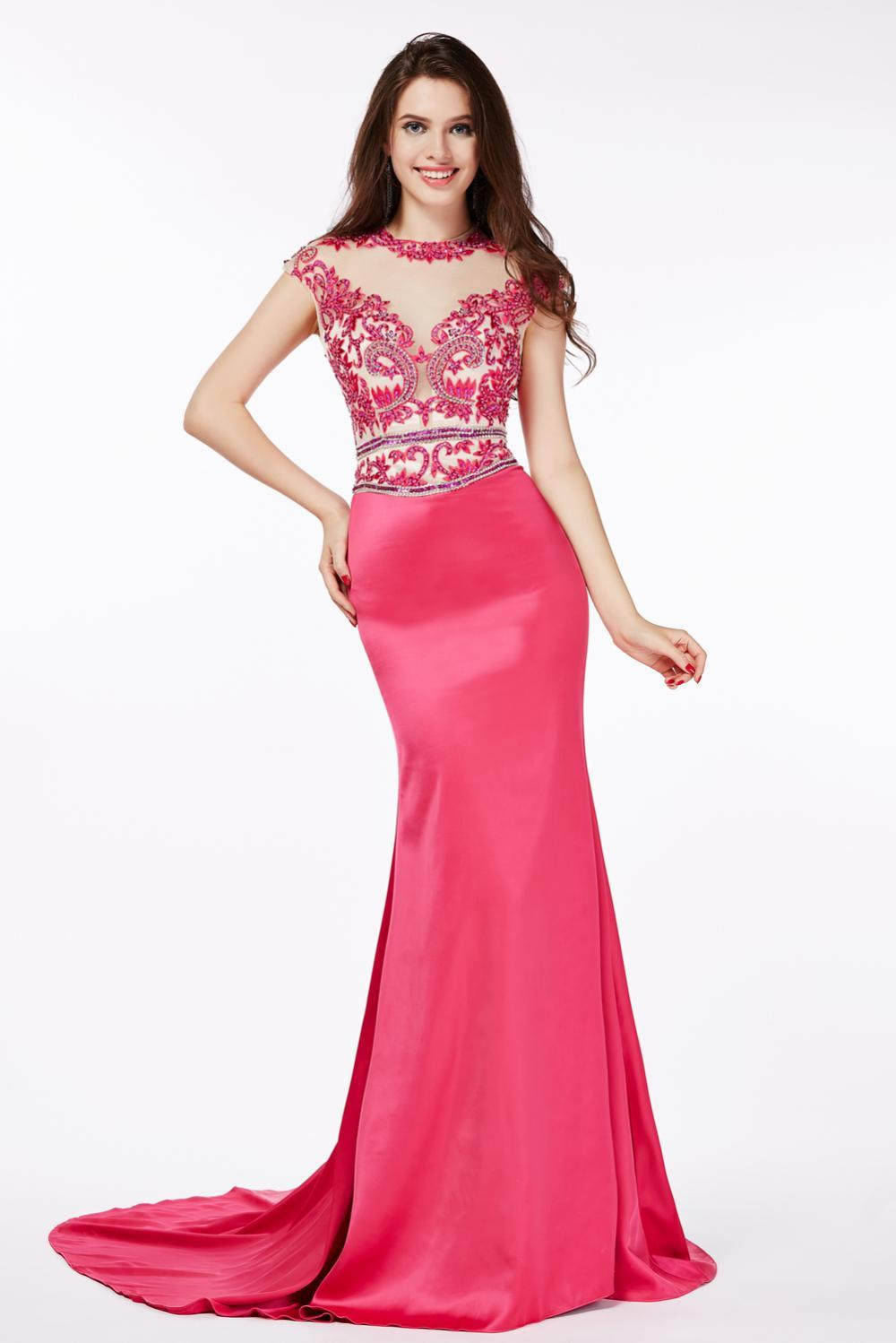 Sheath/Column Jewel Neck Floor Length Elastic Satin Evening Dress with Beadings