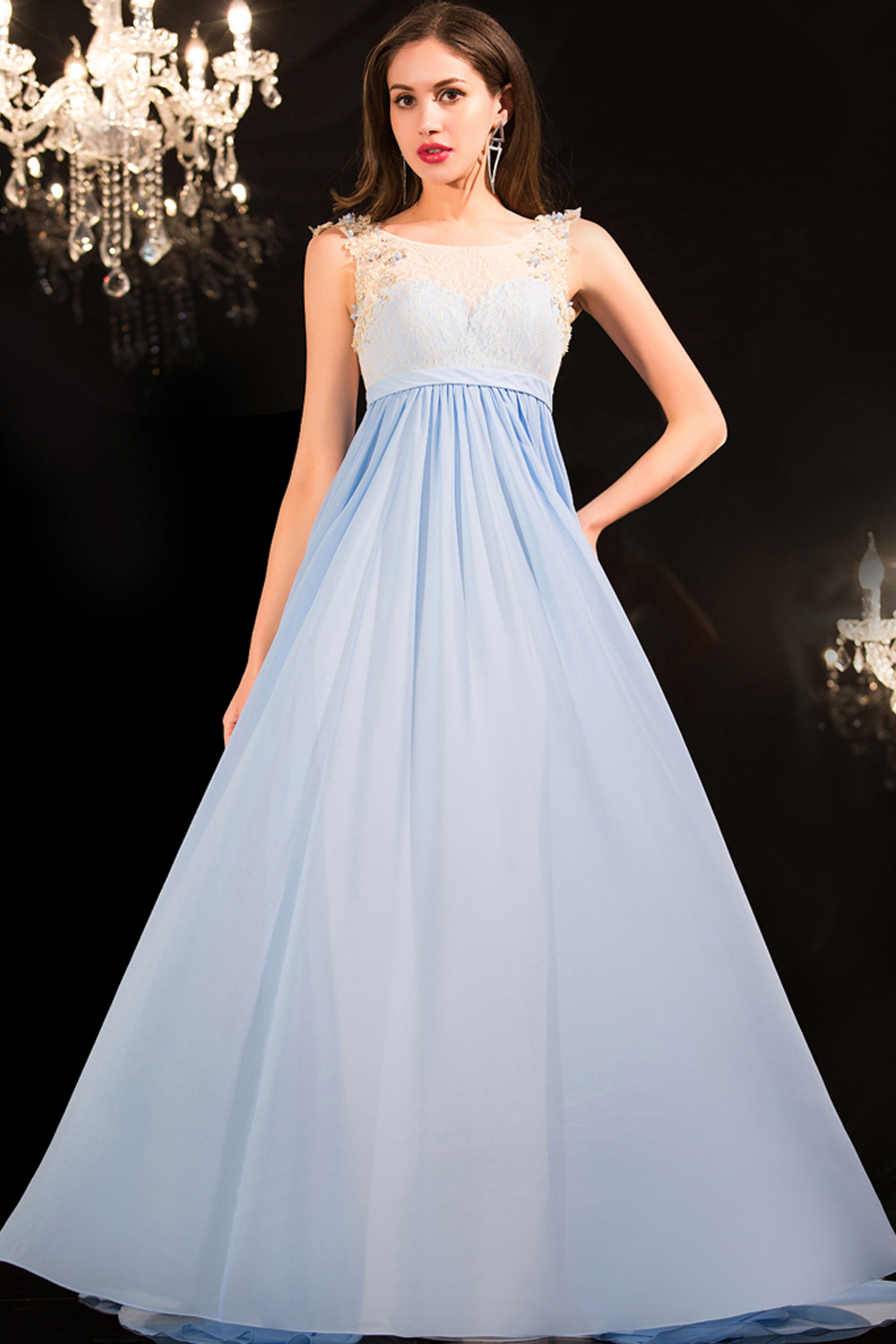A-Line/Princess Scoop Neckline Floor Length Chiffon Prom Dress with Appliques
