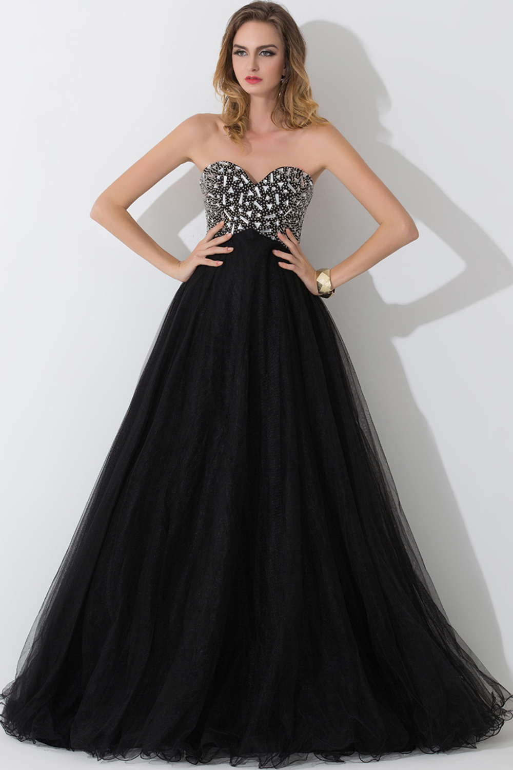 A-Line/Princess Strapless Floor-Length Tulle Evening Dress with Beadings