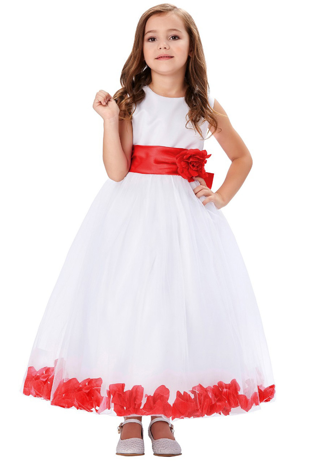 A-Line/Princess Tulle Ankle-Length Wedding Gowns for Girls