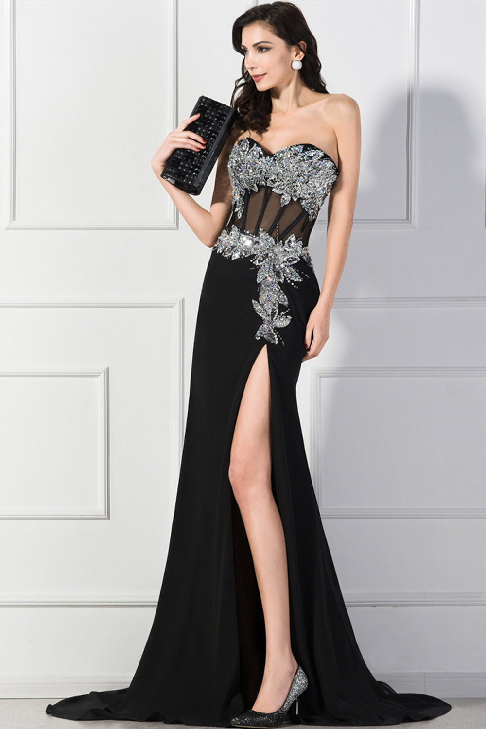 A-Line/Princess Strapless Floor Length Jersey Evening Dress with Front Slit