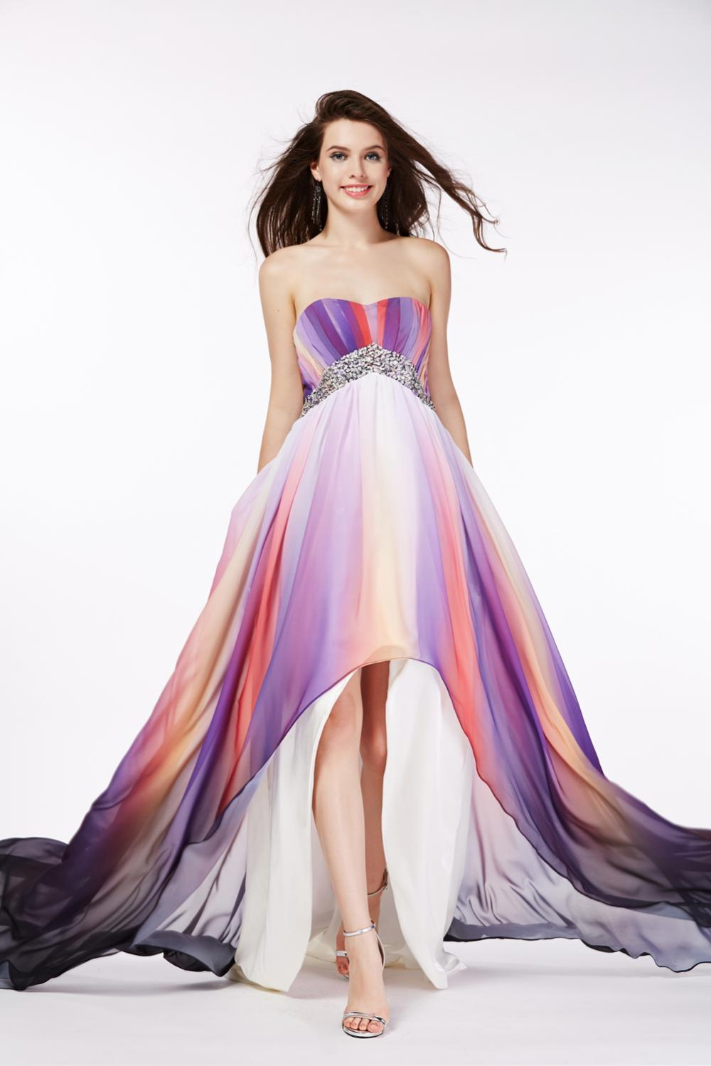 A-Line/Princess Strapless Hi-Lo Chiffon Prom Dress with Beadings