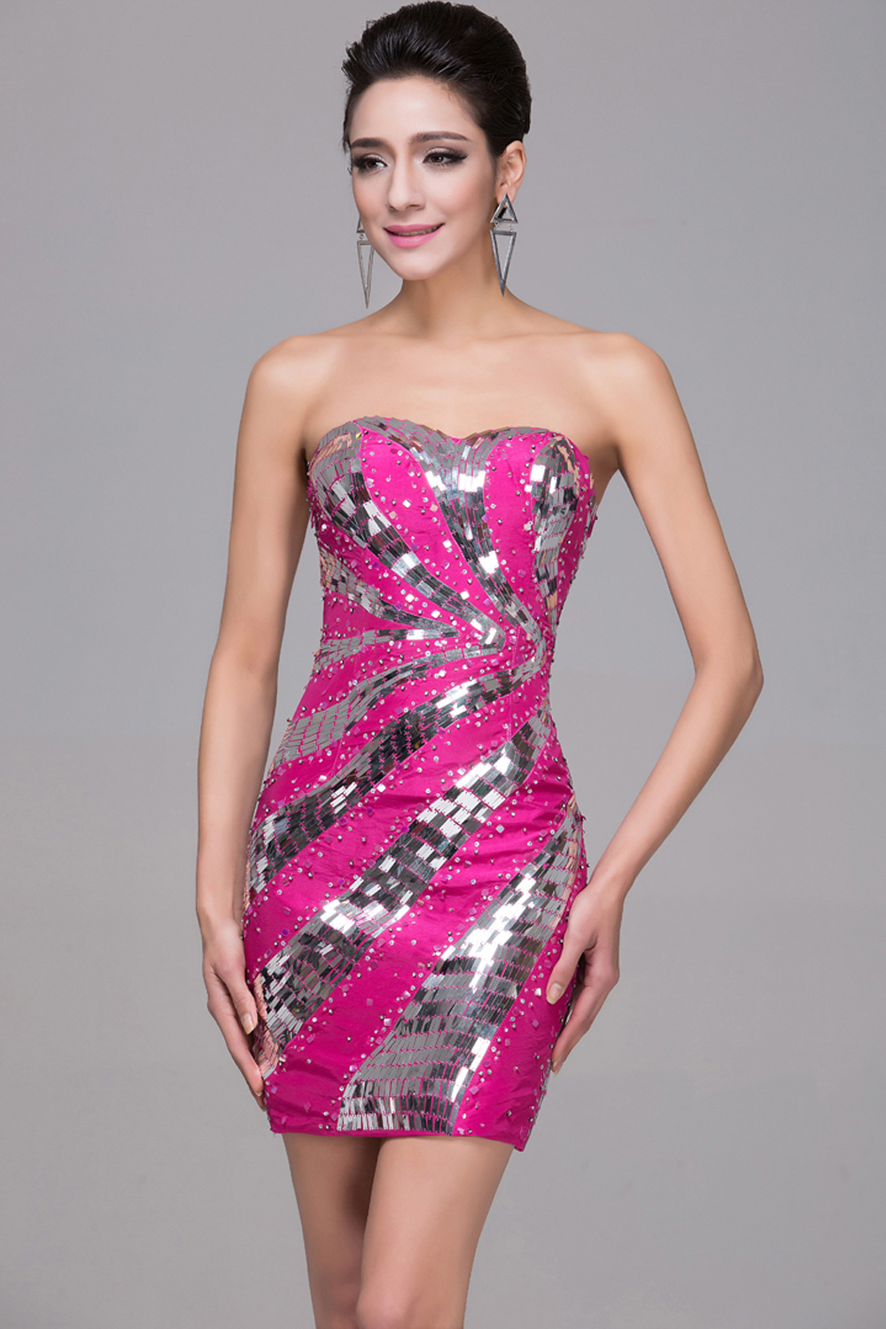 Sheath/Column Strapless Mini-Length Satin Cocktail Dress with Sequins