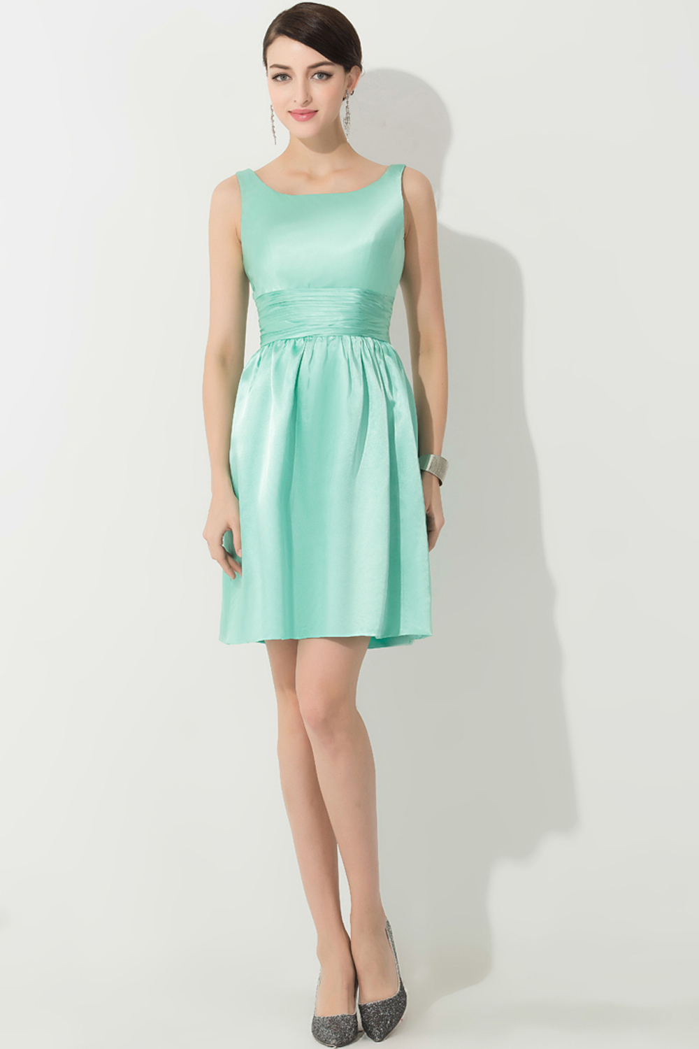 A-Line/Princess Square Neckline Mini-Length Satin Cocktail Dress with Pleats