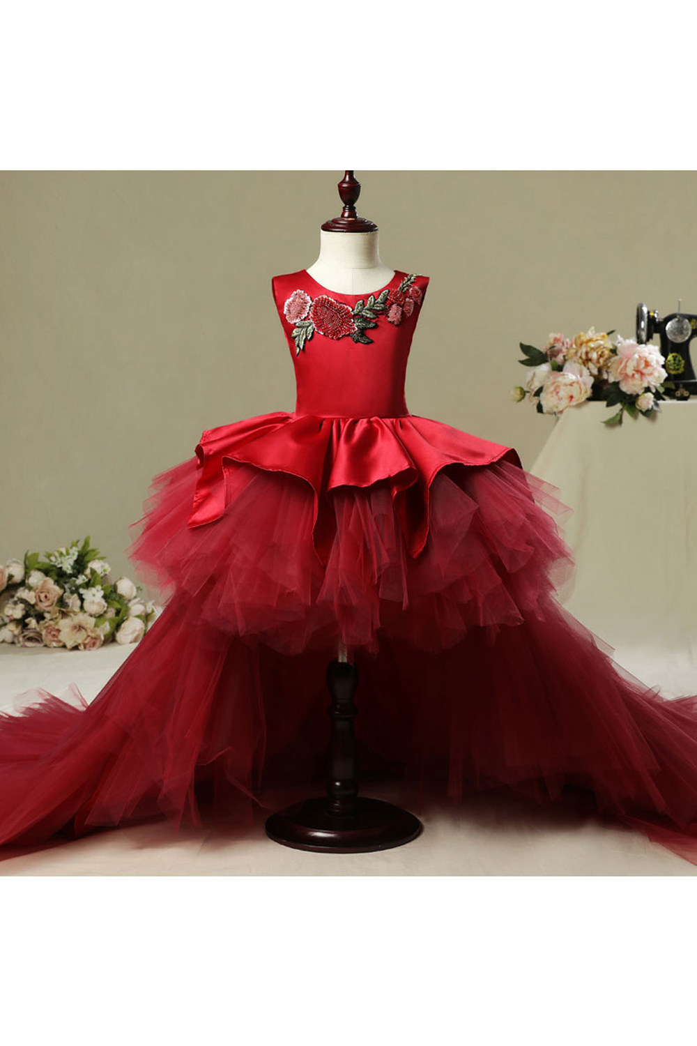 A-Line/Princess Organza Floor Length Flower Girl Dresses Wedding