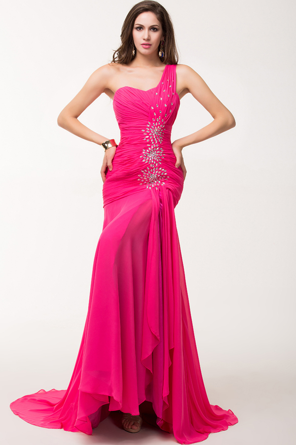 Sheath/Column One-Shoulder Floor Length Chiffon Evening Dress with Front Slit