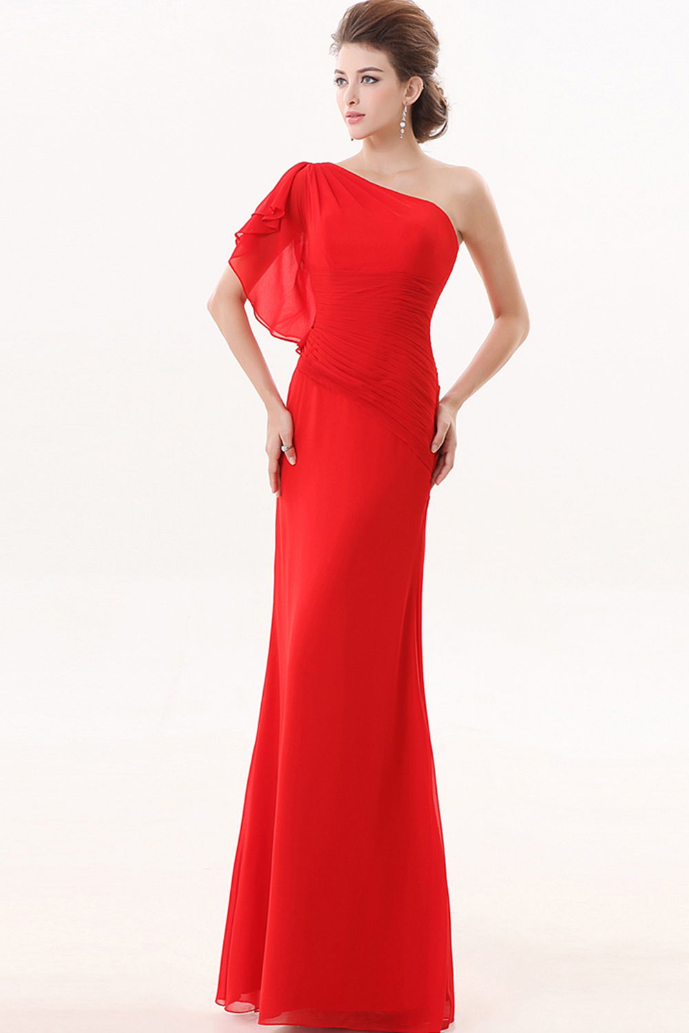 A-Line One-Shoulder Floor Length Chiffon Prom Dresses with Ruffle