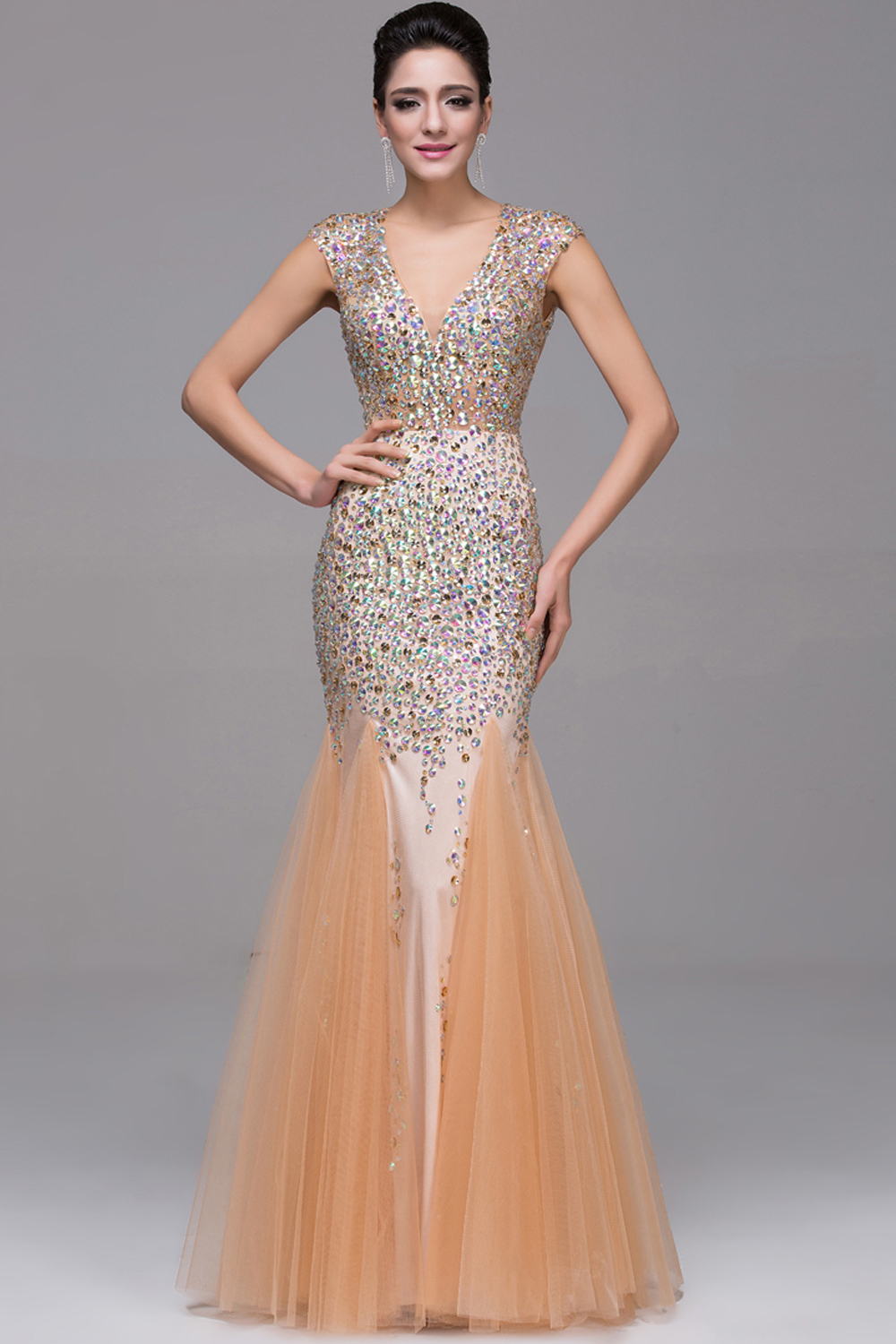 Sheath/Column V-Neck Floor Length Tulle Prom Dress with Beadings
