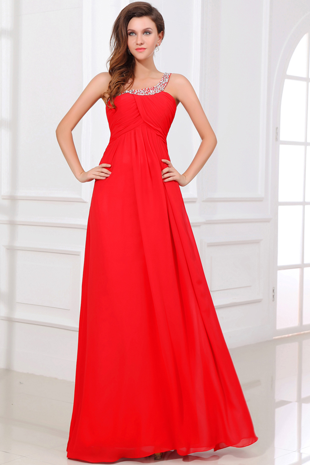 A-Line/Princess One-Shoulder Floor Length Chiffon Prom Dresses with Beads