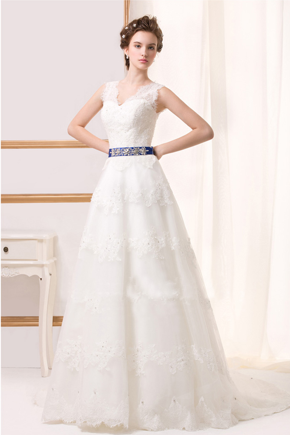 A-Line/Princess Tulle Floor Length Best Wedding Dress Sites
