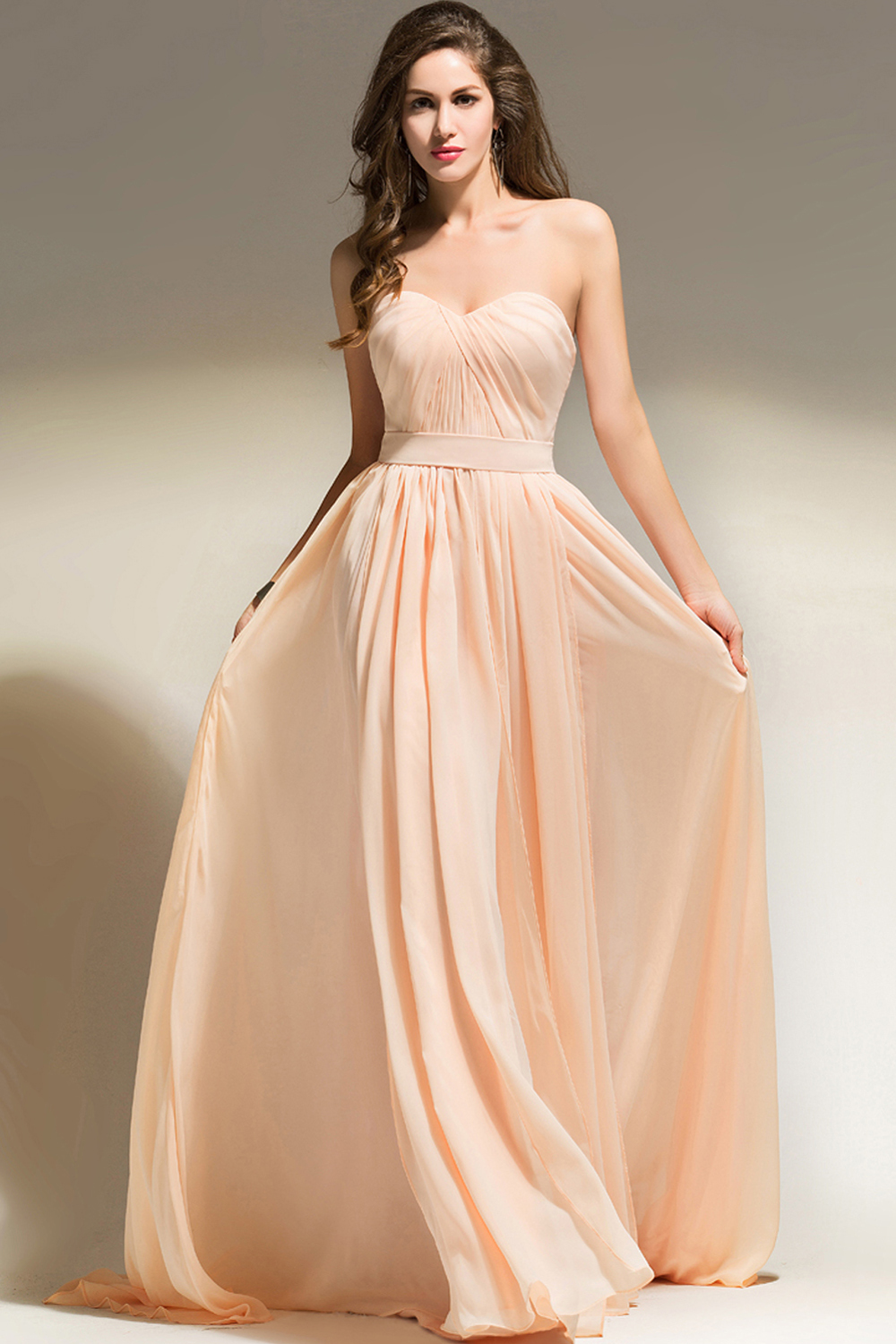 A-Line/Princess Strapless Floor Length Chiffon Bridesmaid Dress with Pleats
