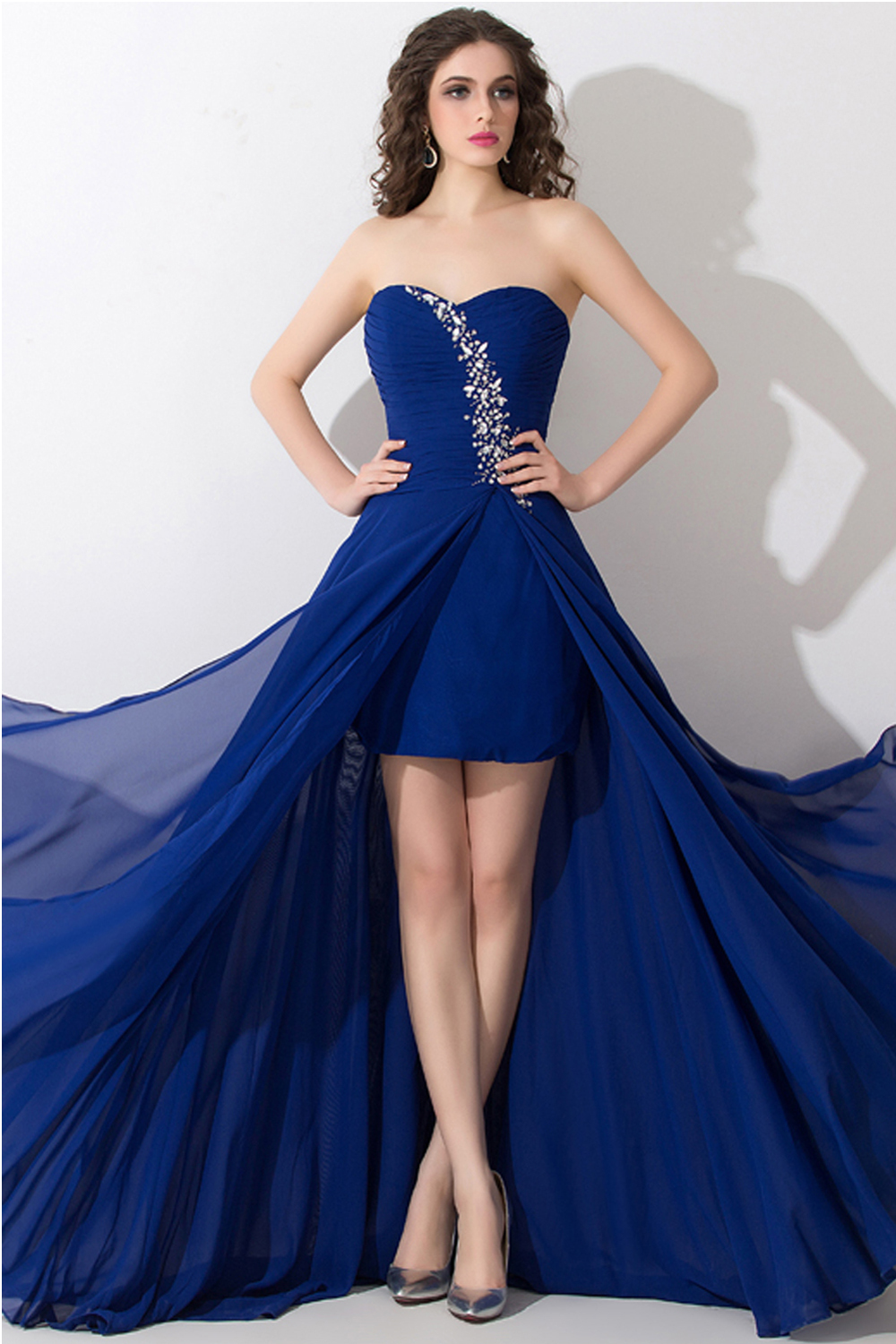 A-Line/Princess Strapless Floor Length Chiffon Graduation Dress with Pleats