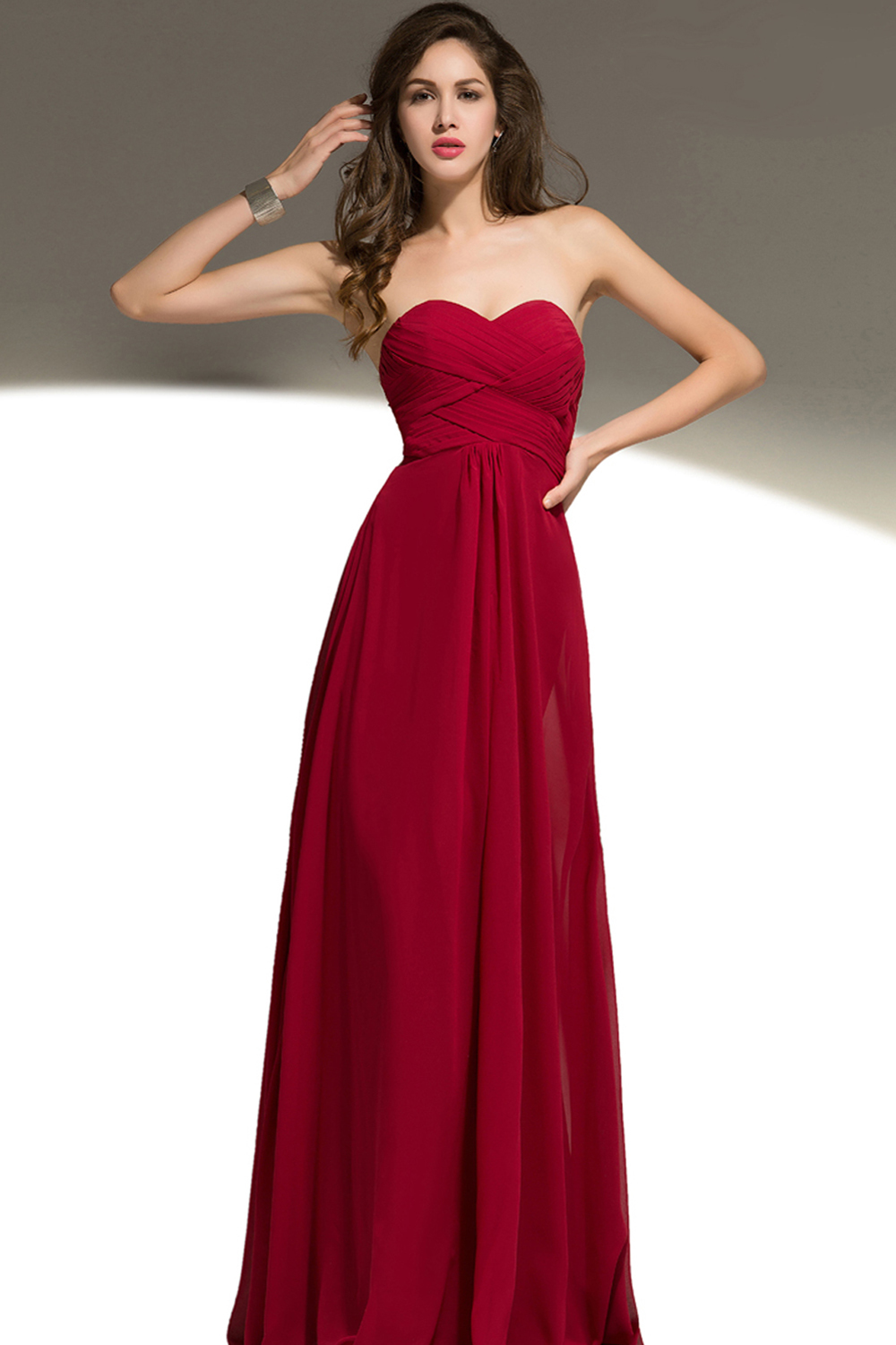 A-Line/Princess Sweetheart Neckline Floor Length Chiffon Bridesmaid Dresses with Ruffle