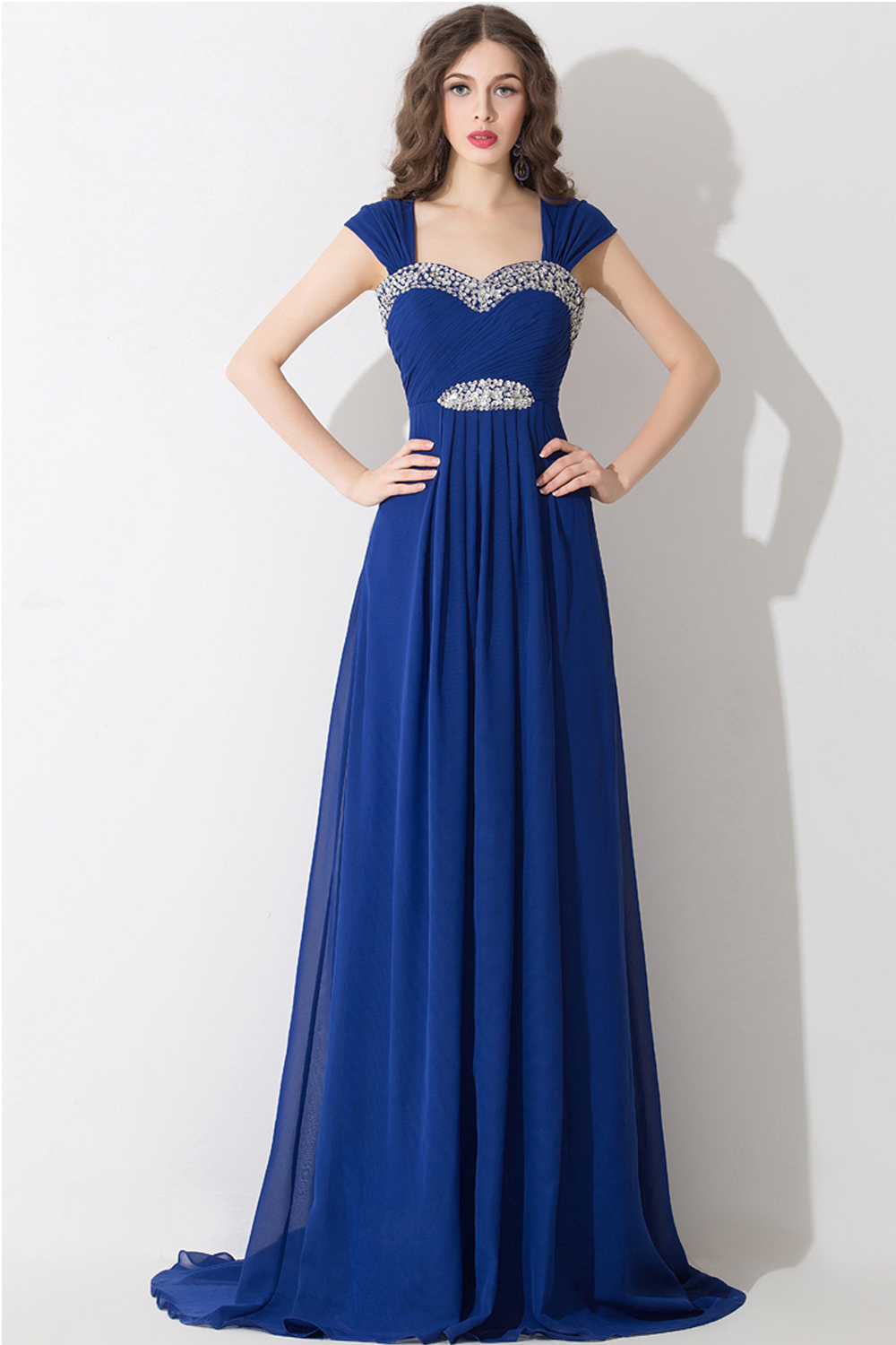 A-Line/Princess Sweetheart Neckline Floor Length Chiffon Prom Dress with Diamonds