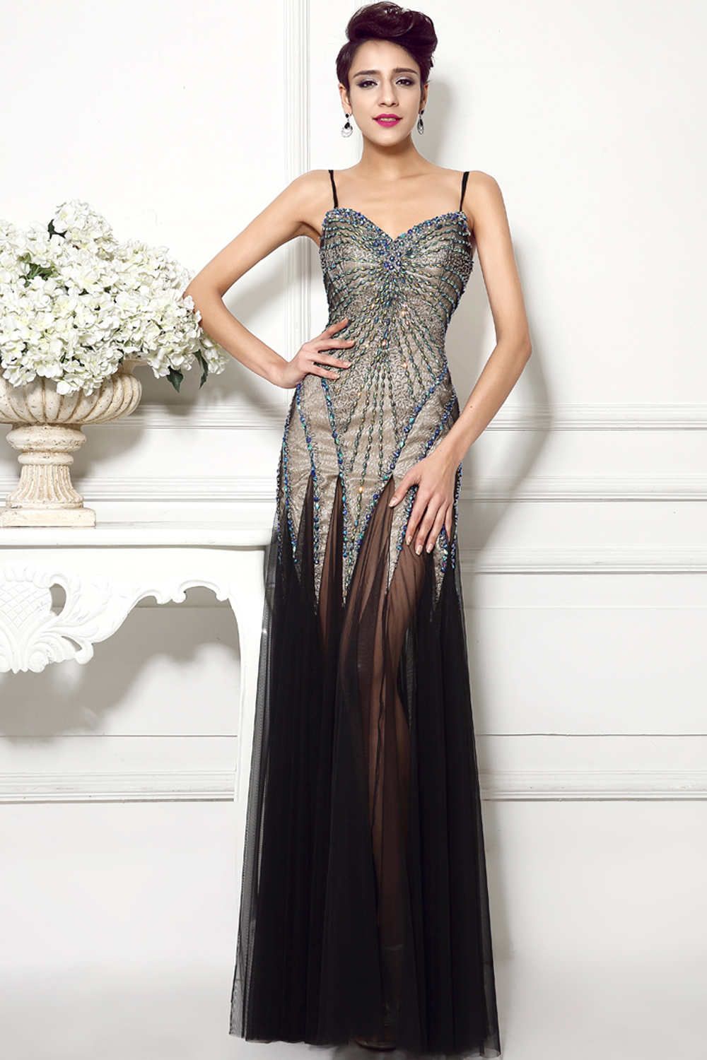 Sheath/Column Spaghetti Floor Length Tulle Evening Dresses with Beads