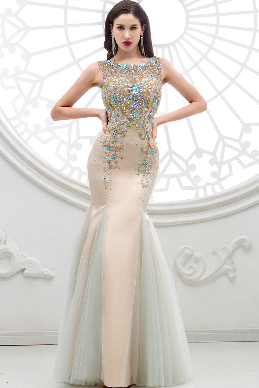 Sheath/Column Jewel Neck Floor Length Tulle Evening Dresses with Diamond