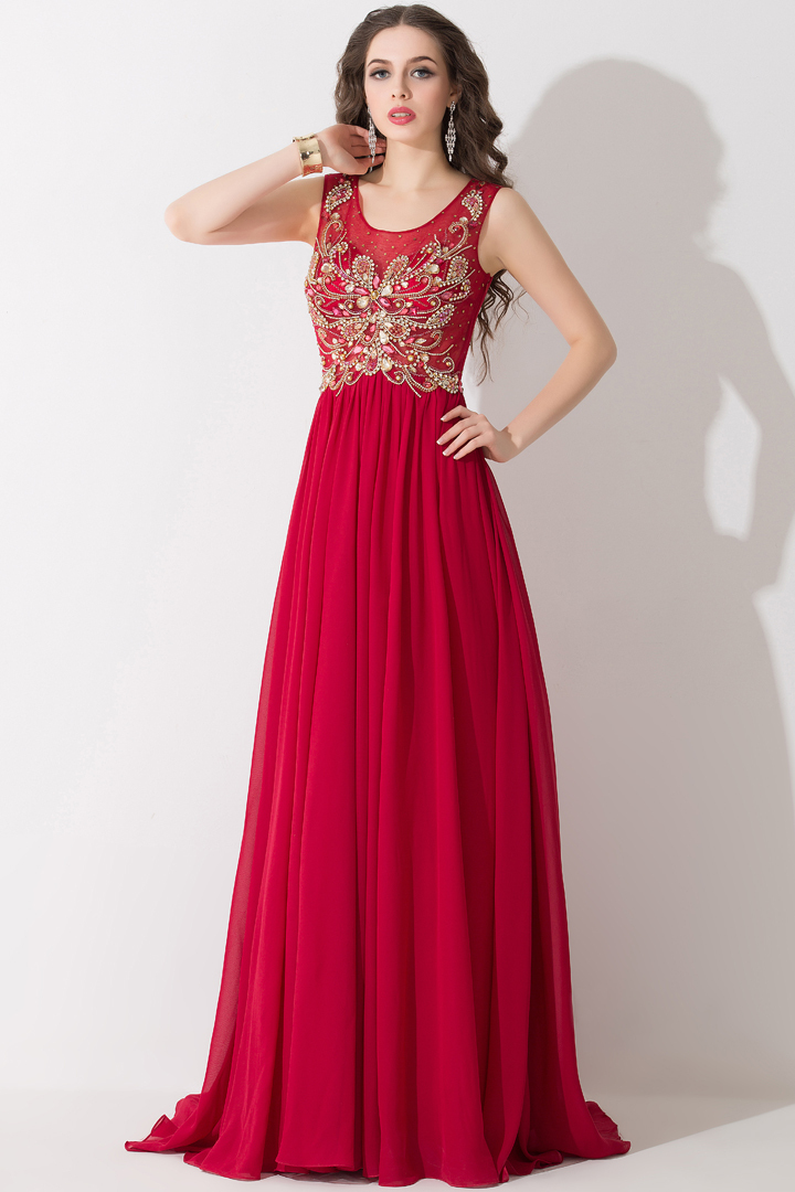 A-Line/Princess Jewel Neck Sweep Train Chiffon Prom Dresses with Sash