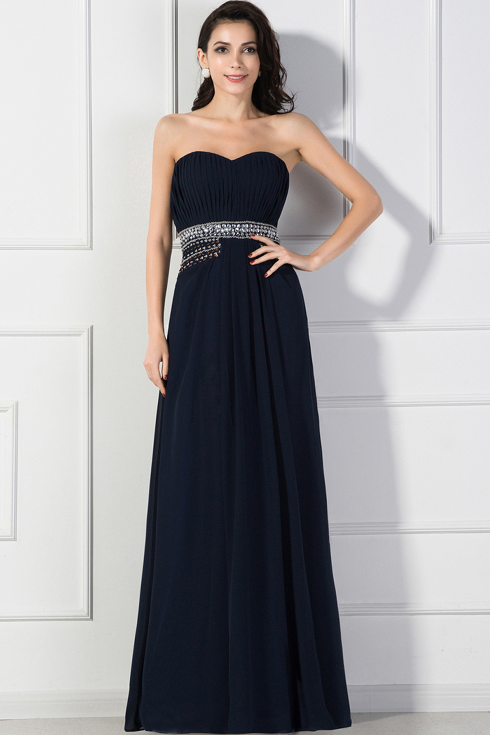 A-Line/Princess Strapless Floor Length Chiffon Prom Dress with Beads