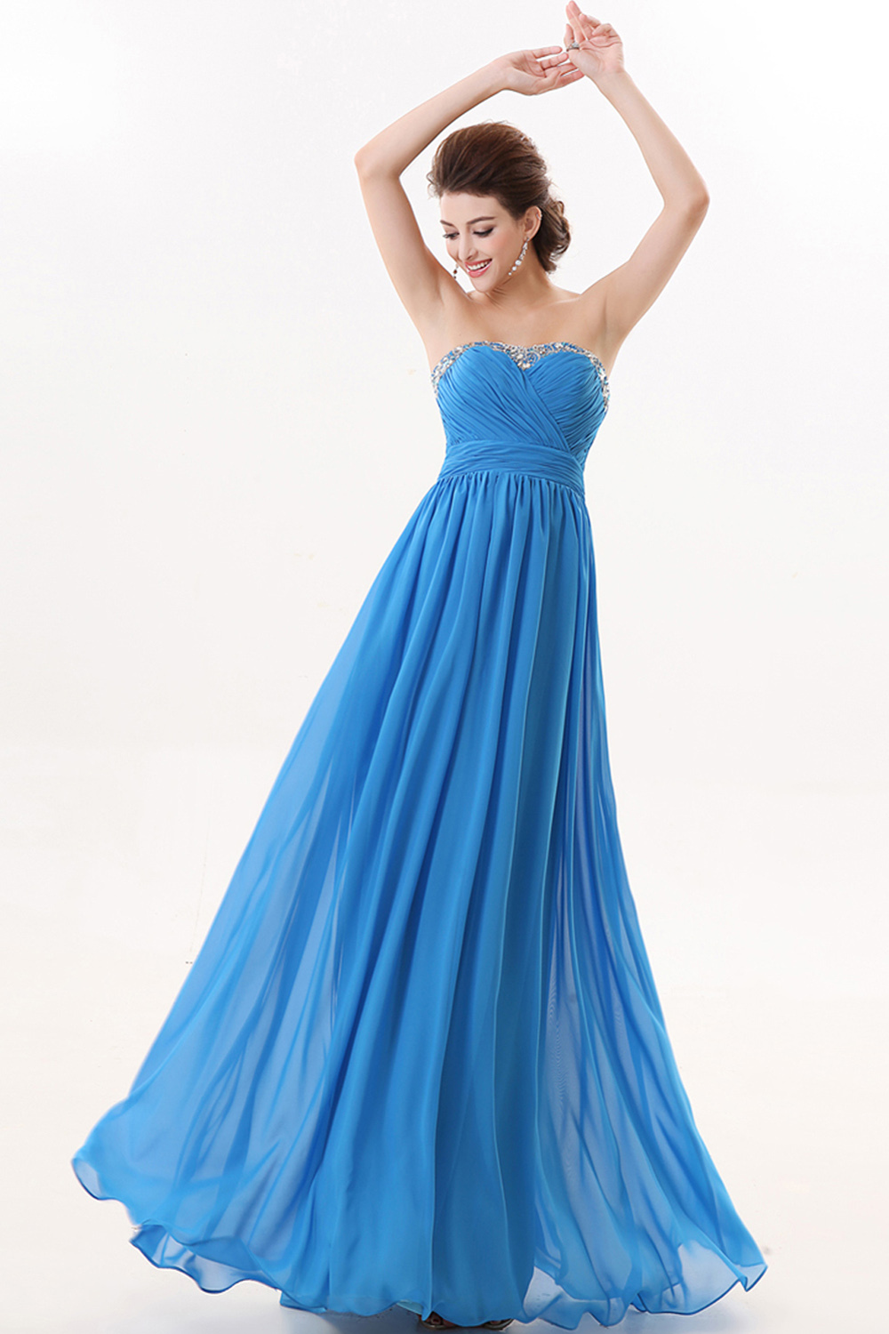 A-Line/Princess Sweetheart Neckline Floor Length Chiffon Prom Dresses with Pleats
