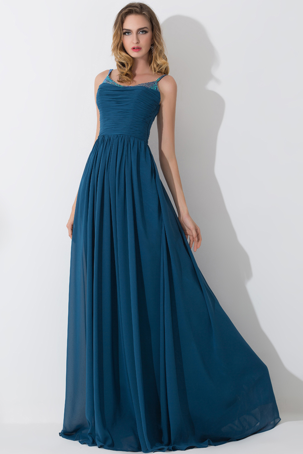 A-Line/Princess Scoop Neckline Floor Length Chiffon Bridesmaid Dress with Pleats