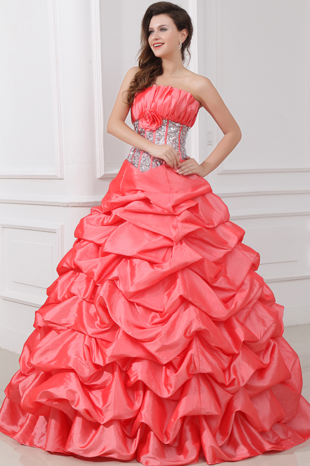 Ball Gown Strapless Floor Length Taffeta Quinceanera Dress with Beadings
